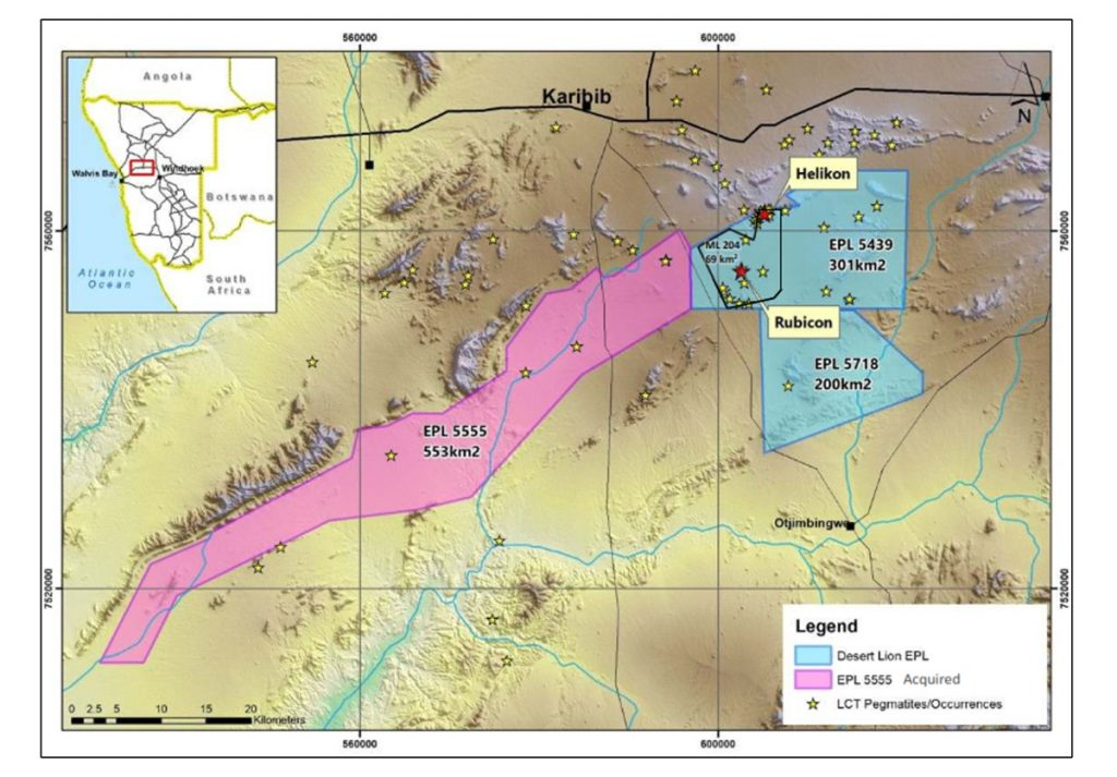 The Karibib Lithium Project is located in central Namibia in southwestern Africa.